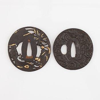 Two iron Tsubas, Japan, Edo, both signed.