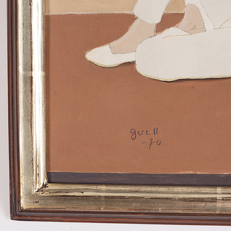 Greta gerell, oil on panel, signed and dated -70.
