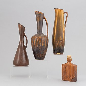 Gunnar Nylund, a set of three stoneware vases, Rörstrand and a Carl Harry Stålhane bottle, Designhuset, Sweden.