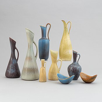 Gunnar Nylund, a set of five stoneware vases and two bowls and Carl-Harry Stålhane, a set of two vases for Rörstrand.