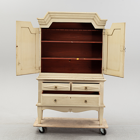 A painted swedish cabinet, second half of the 18th century and mid 20th century.