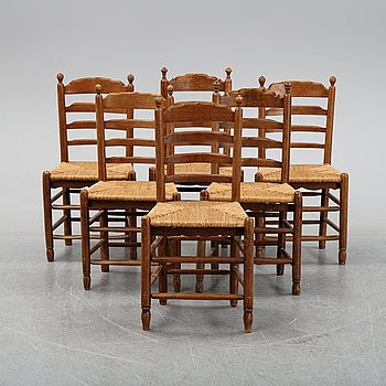 A set of six French ladder back, rush seat chairs, first half of the 20th century.