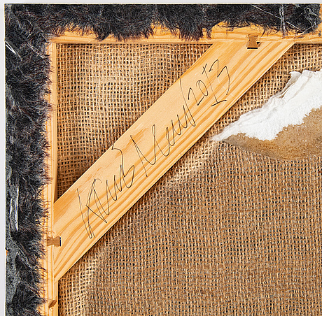 Karl norin, epoxy infused faux fur on canvas, signed and dated 2013 verso.