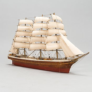 Model ship, a mid-20th century four-masted barque,