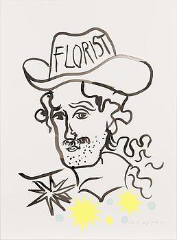 Maija Louekari, an ink drawing 'Florist', signed and dated 2021.