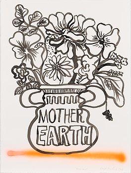 """Maija Louekari, tuschteckning, """"Mother Earth"""", signerad och daterad 2021."""