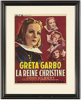 A vintage movie poster, Greta Garbo, 'La Reine Christine', Belgium, 1950's.