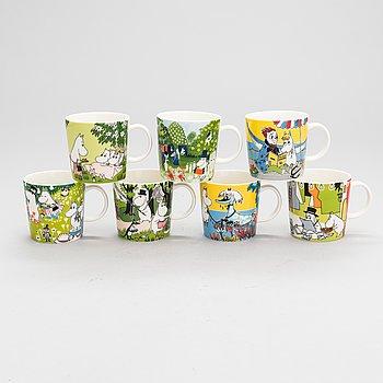 MOOMIN-MUGS, seven porcelain, Moomin Characters, Arabia 2012-2020.