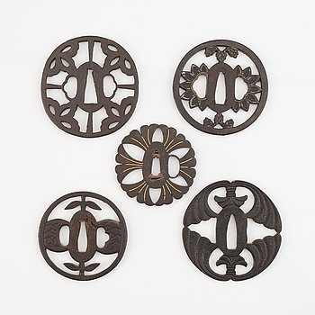 Five Iron tsubas, Japan, Edo period.