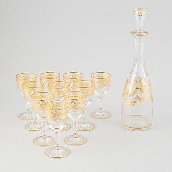 Glasservis, 11 delar, 1800-tal.