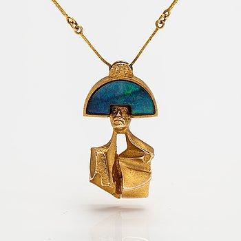 "Björn Weckström,  ""Balak"", a 14K gold necklace with an opal triplette. Lapponia 1977."