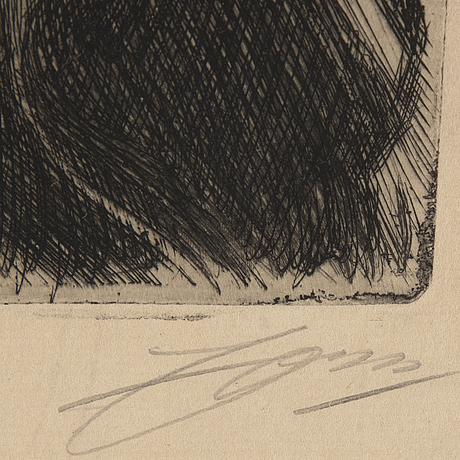 Anders zorn, etsning, 1909, signerad i blyerts.