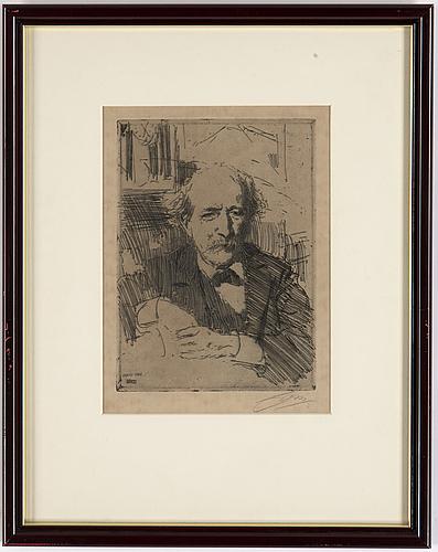 Anders zorn, etnsing, signerad och daterad paris 1906, samt signerad i blyerts.