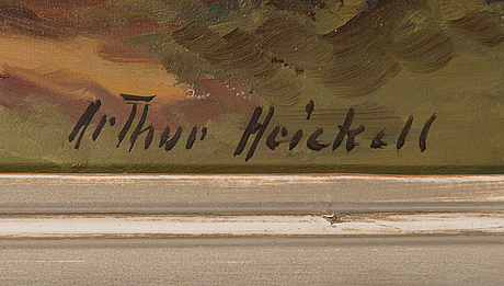 Arthur heickell, oil on canvas signed.