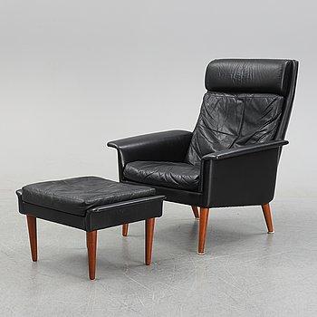 A leather armchair and foot stool by Hans Olsen, CS Möbler, Denmark, 1950's/60's.