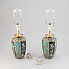 A pair of chinese porcelain vases converted to table lamps. first half of the 20th century.