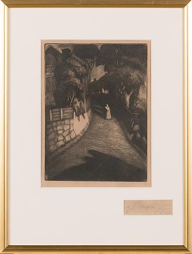 Albert edelfelt, etching, unsigned.