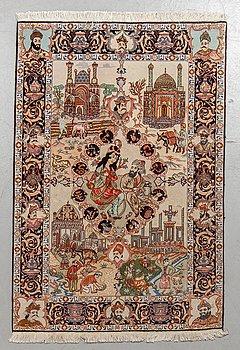 A rug, Old, Tabriz part silk, ca 149 x 101 cm.