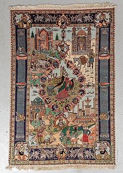A rug, Old, Tabriz part silk, ca 149 x 99 cm.