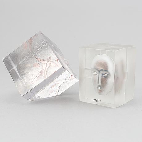Bertil vallien, two glass sculptures, kosta boda.