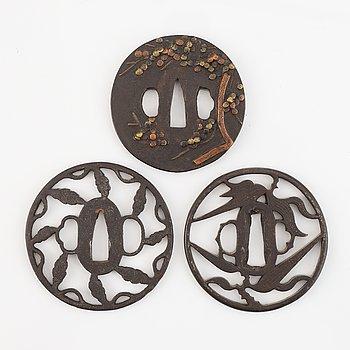 Three Japanese iron Tsubas, Edo.