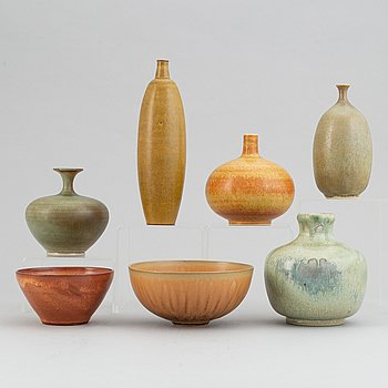 A set five stoneware vases and two bowls, including Tomas Anagrius and Atte Holm, Höganäs.