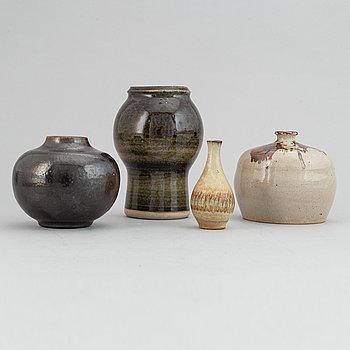 Claes Thell, John Andersson, Höganäs and Wallåkra, a set of four stoneware vases, second half of the 20th Century.