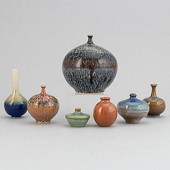 A set of seven stoneware vases, including Bertil Lundgren, Rörstrand, Klase Keramik, Gunnar Anderson and  Yngve Blixt.