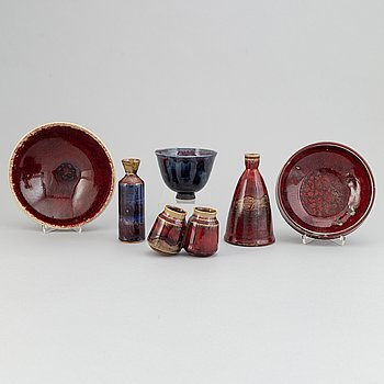 Henning Nilsson, Sven Hofverberg, Höganäs and others, 3 vases and 3 bowls, Sweden, second half of 20th century,