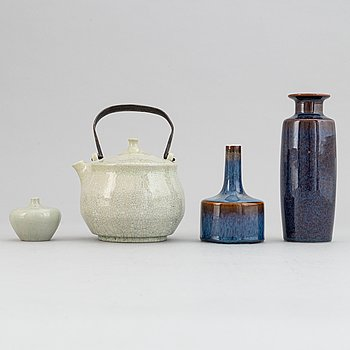 Carl-Harry Stålhane, a stoneware teapot and a set of three vases, Rörstrand, second half of the 20th Century.