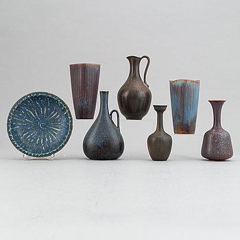 Gunnar Nylund, a set of five stoneware vases, a jug and a bowl, Rörstrand, 1950's/1960's.