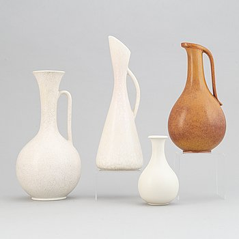 Gunnar Nylund, a set of three stoneware jugs and a vase for Rörstrand, 1950's/60's.