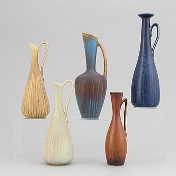 Gunnar Nylund, a set of five stoneware vases/jugs for Rörstrand.