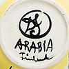 Dorrit von fieandt, skål, keramik, signerad df arabia finland.