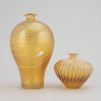 Bertil Vallien, two glass vases, Kosta Boda, Sweden.