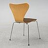 Arne jacobsen, a set of nine 'series 7' chairs from fritz hansen, denmark, 1982.