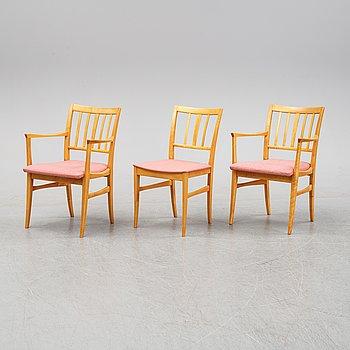 Carl Malmsten, a set of three 'Talavid' chairs, Waggeryds Möbelfabrik AB.