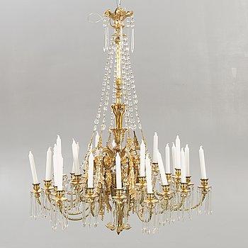An Empire style gilded chandelier around 1900.