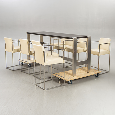 Bert plantagie, a bar table and eight stools 21st century.