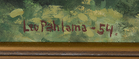 Leo pahlama, olja på pannå, signerad och daterad-54.