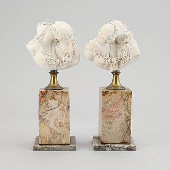 Jean-Antoine Houdon, afteer. A pair. Parian.