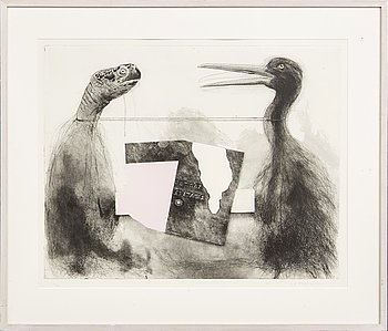 PG Thelander, etching and watercolour signed and numbered 12/90.