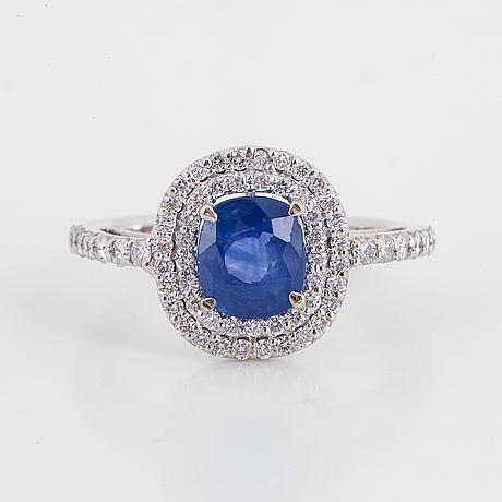 Sapphire and brilliant cut diamond ring.