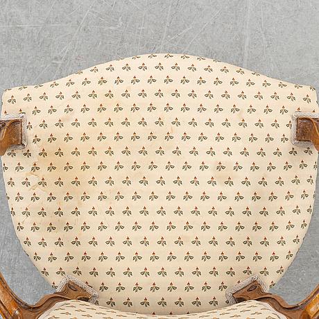 Karmstolar, ett par, nyrokoko, andra halvan av 1800-talet.