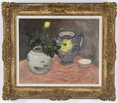 Olle hjortzberg, oil on panel, signed and dated 1947.
