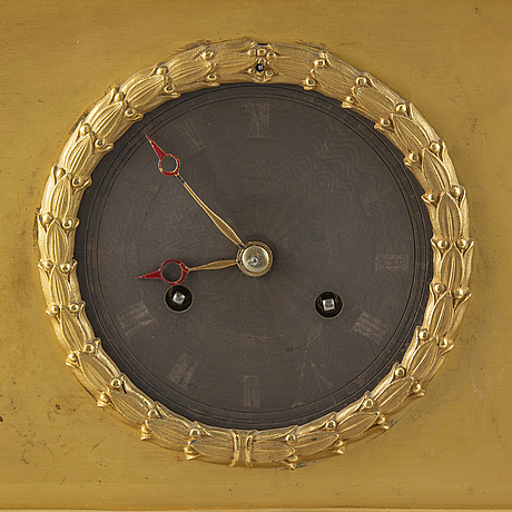 A french late empire ormolu and parcel-gilt mantel clock, mid 19th century.