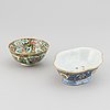 Urna, vas, skålfat och skål, porslin, fyra delar, kina, 1800-tal till 1900-talets första hälft.