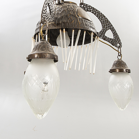 A jugend metal ceiling lamp early 1900s.