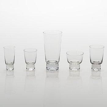 """Tapio Wirkkala, A 47-piece glassware set """"Future"""". Iittala, late 20th century."""