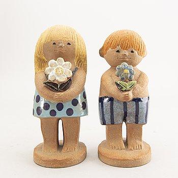 "Lisa Larson, figurines 2 pcs, stoneware. ""Adam big"" and ""Eva big"", Gustavsberg."